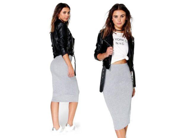 модный сет: серая юбка под косуху
