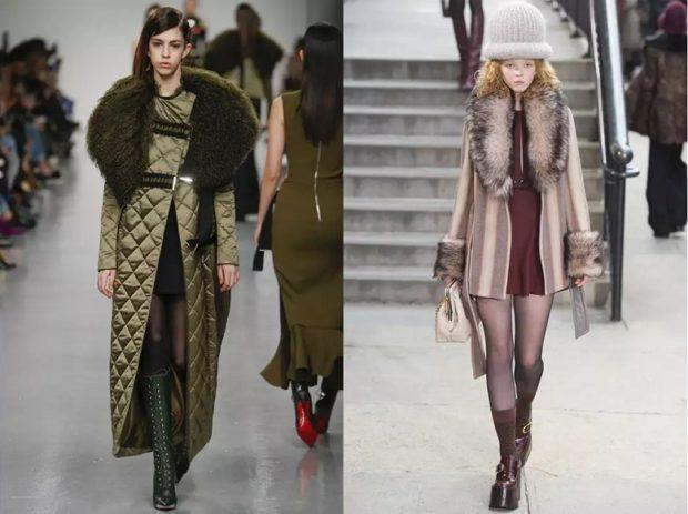 модные сеты пальто длинное короткое