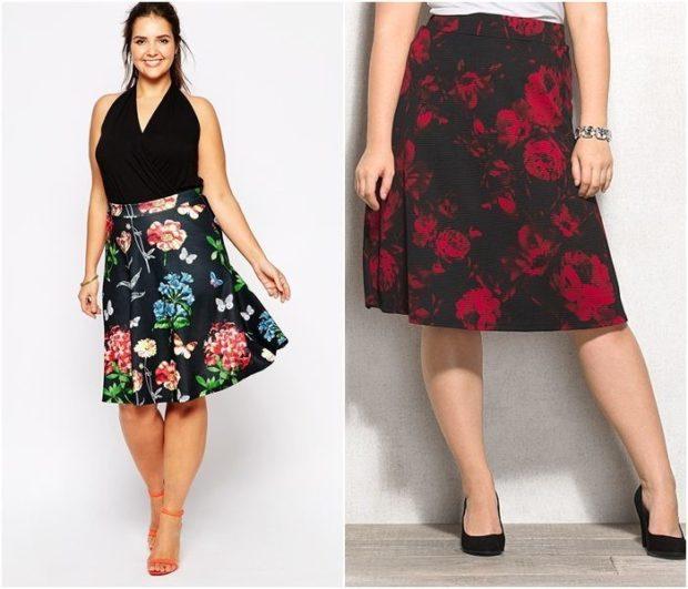 модный сет: юбки в цветы под однотонные топы