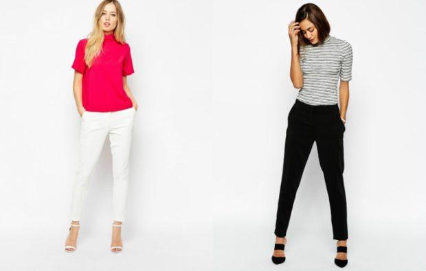 модные сеты: белые штаны красная блузка черные штаны полосатая футболка