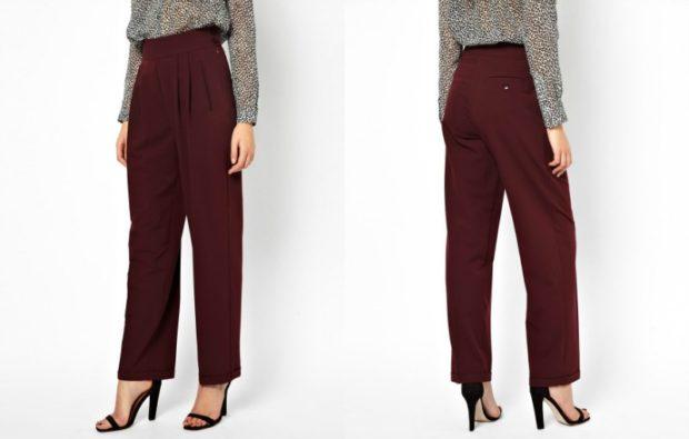 модные сеты: бордовые брюки под серую блузку