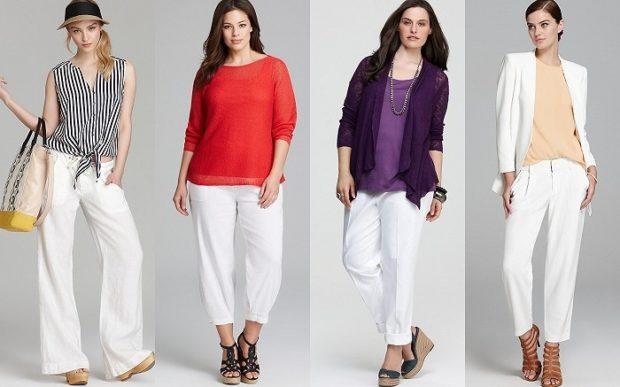 модные сеты: белые штаны под блузку полосатую красную фиолетовую бежевую с жакетом