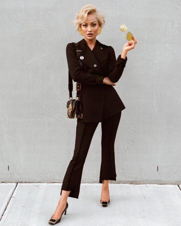 модные сеты: черный брючный костюм