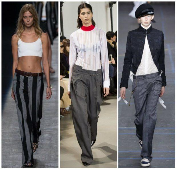 модные сеты: серые широкие штаны под топ под блузку и жакет