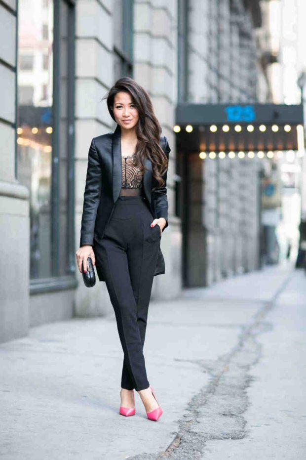 модные сеты: черные штаны под кожаный жакет