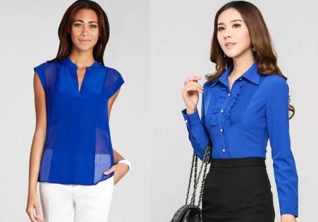модный сет: синие блузки под брюки белые под черную юбку