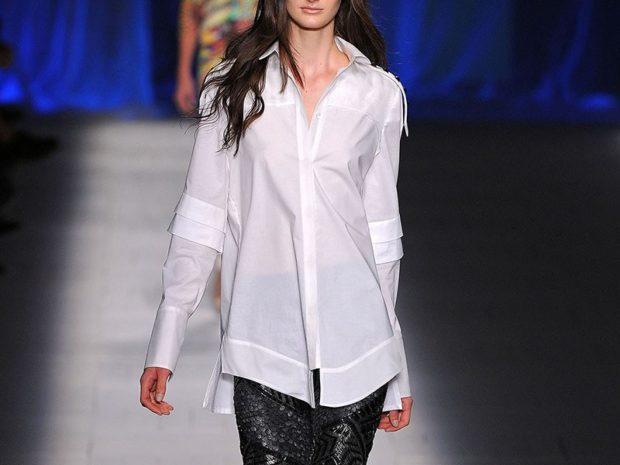 модный сет: белая блузка под брюки черные