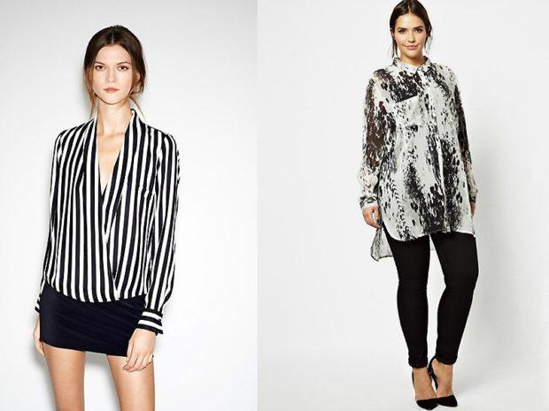 модный сет: полосатая блузка под короткую юбку