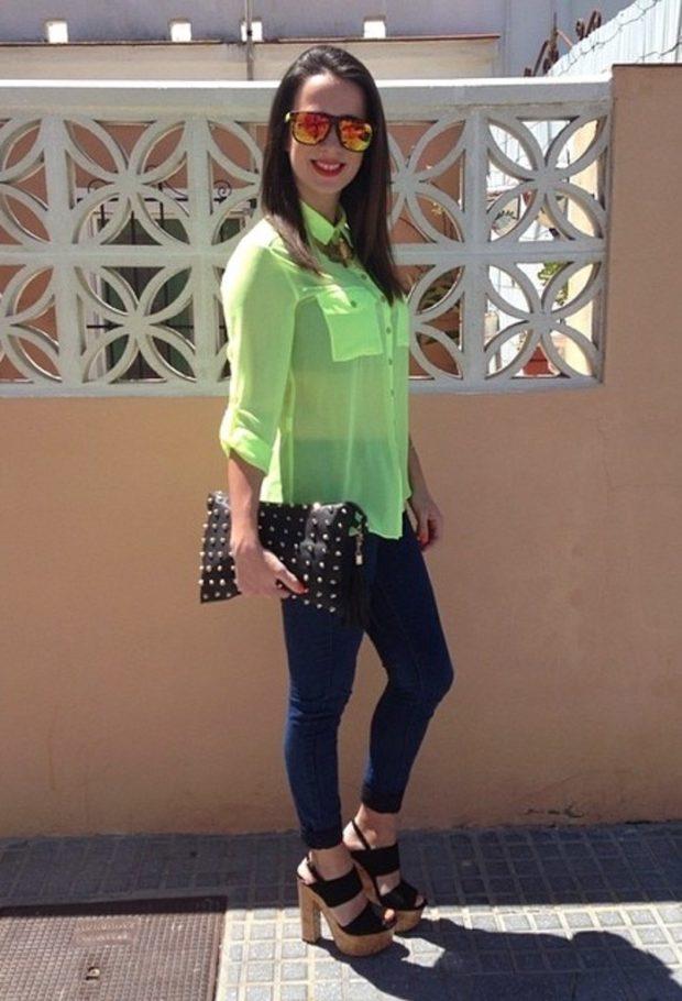 модный сет: салатовая блузка под джинсы