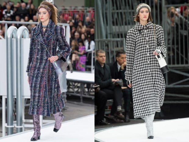 модные сеты пальто в клетку длинное