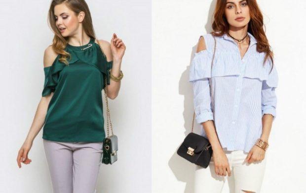 модный сет: блузки с открытыми плечами зеленая голубая в полоску
