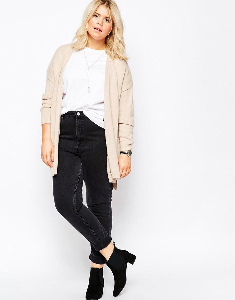 модные сеты 2018: кардиган светлый под джинсы черные