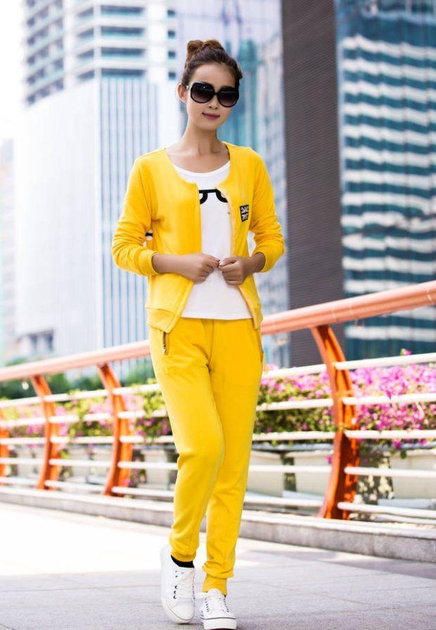 модные спортивные костюмы желтый двойка