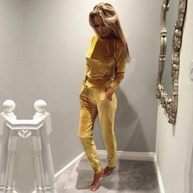 модные спортивные костюмы 2018 велюровый золотой