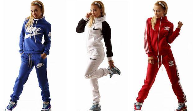 модные спортивные костюмы 2018-2019 штаны и кофта синие белые красные