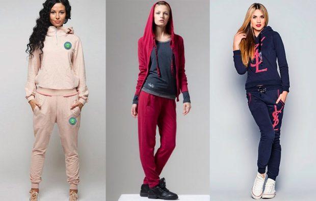 модные спортивные костюмы 2018 классика розовый красный синий