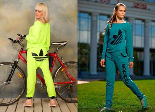 модные спортивные костюмы 2018 салатовый зеленый классический костюм