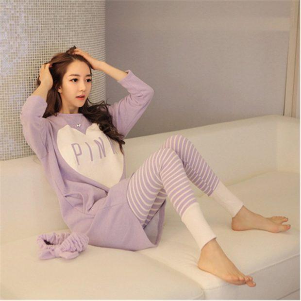 модные спортивные костюмы 2018 в пижамном стиле нежно-розовый
