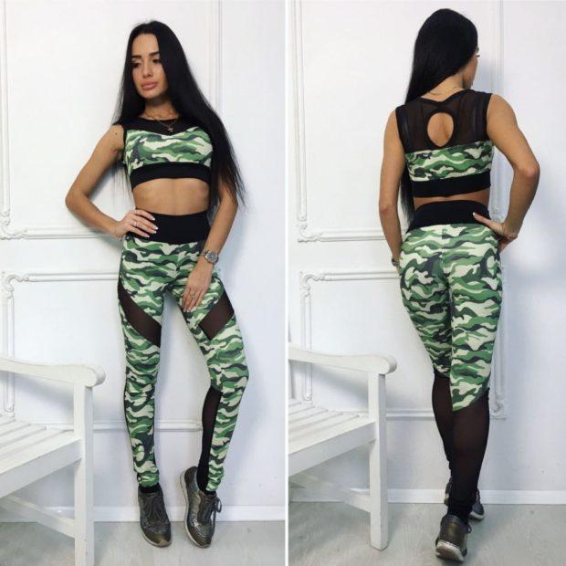 Модные спортивные костюмы 2018 облегающий хаки