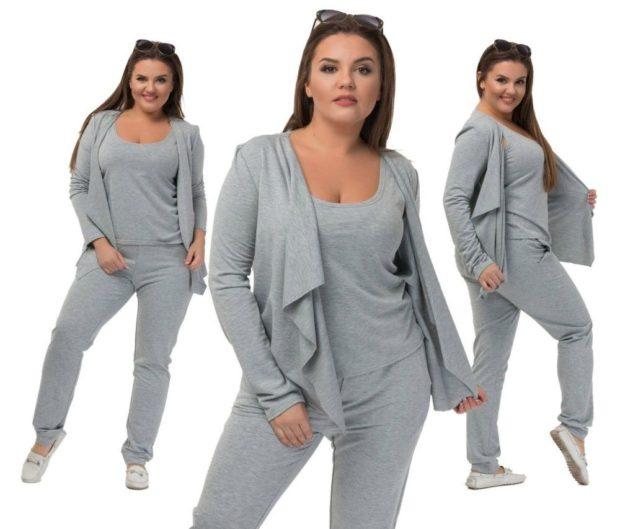 модные спортивные костюмы серый трикотаж для полных