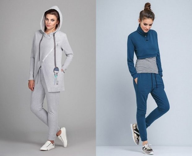 модные спортивные костюмы 2018-2019 серый двойка синий штаны кофта