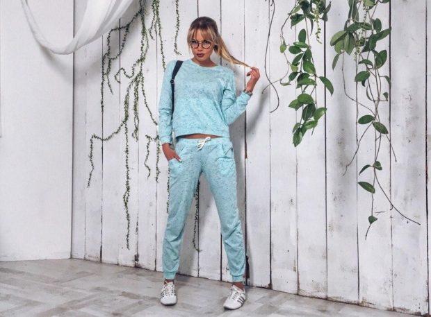модные спортивные костюмы кофта и штаны бирюзовые