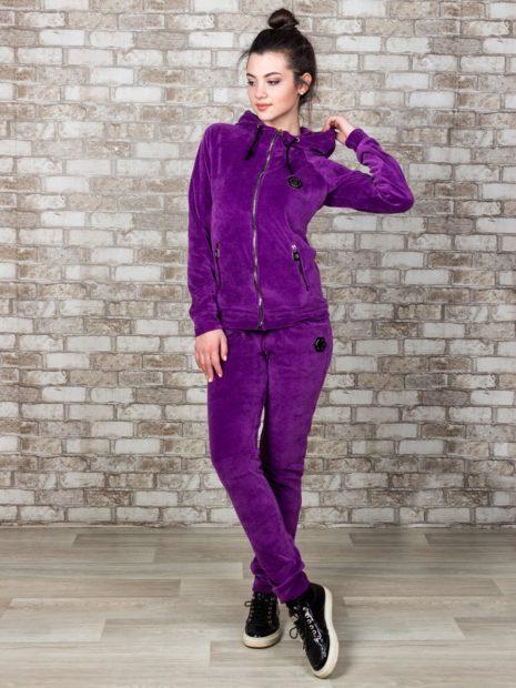 модные спортивные костюмы 2018 велюровый фиолетовый