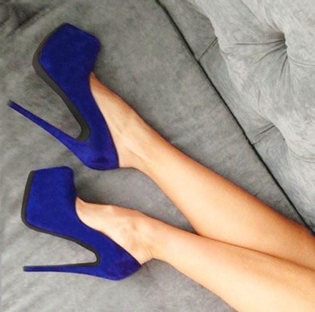 модные туфли 2018-2019 темно синие на шпильке