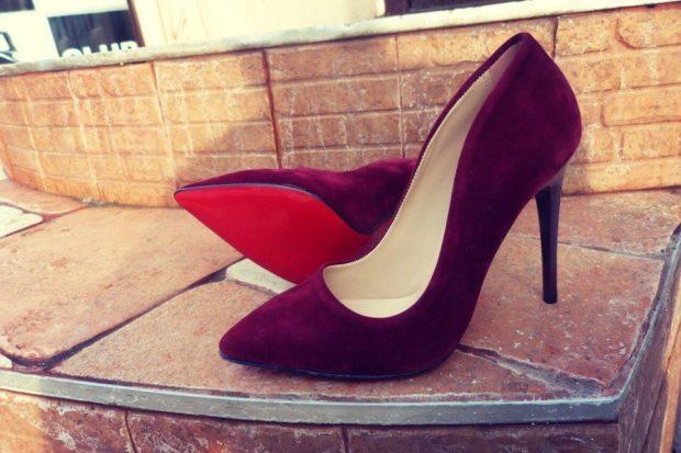 модные туфли 2018-2019 бархатные темно бордовые