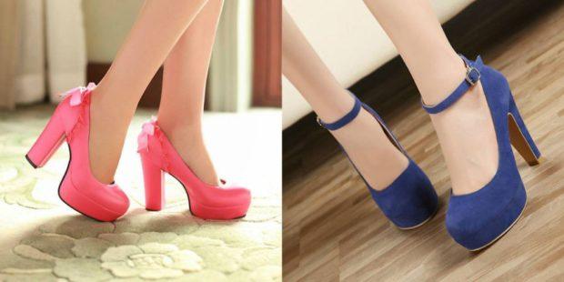 модные туфли 2018-2019 толстый каблук розовые синие