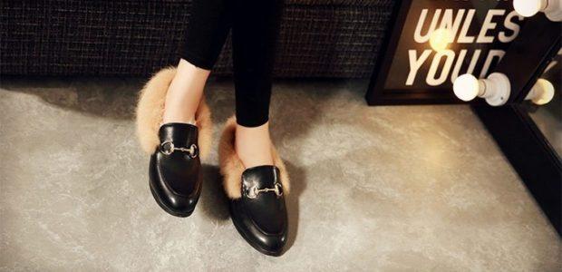 модные туфли 2018-2019 на низком ходу с мехом