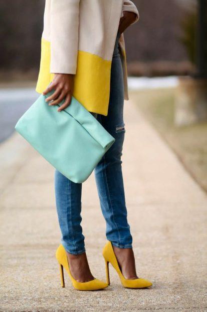 модные туфли 2018 желтые на шпильке