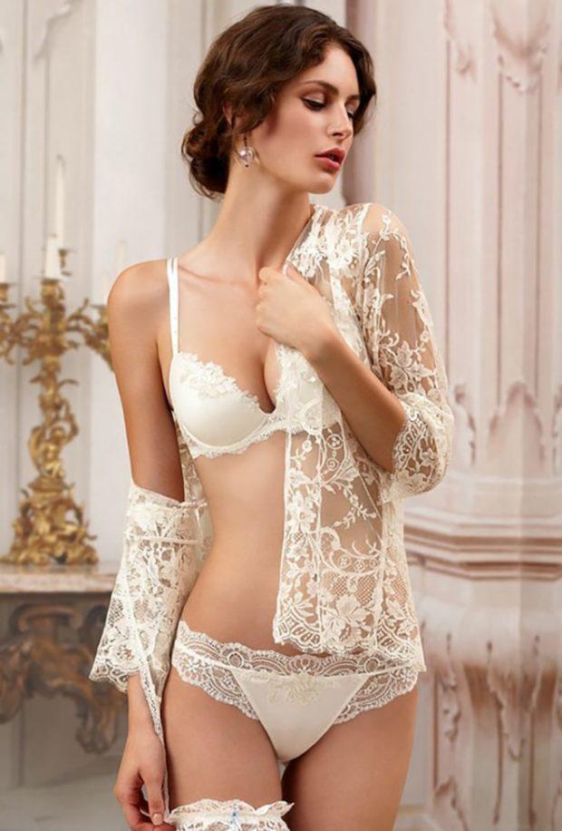 модное женское белье 2018 комплект кружевной белый