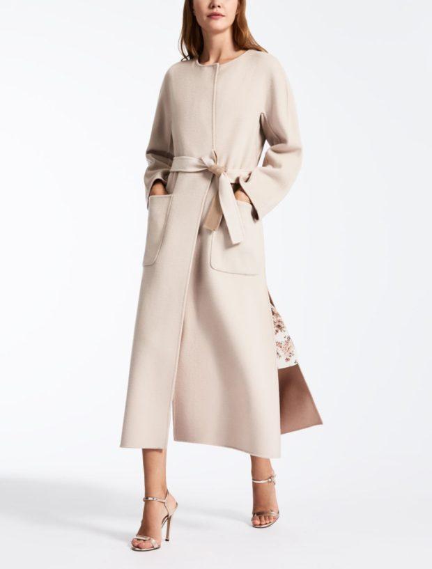 модное пальто осень-зима 2019-2020 макси светлое под пояс