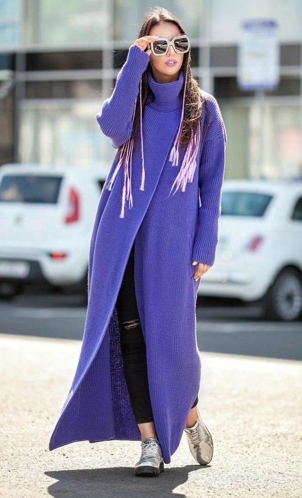 модное пальто осень-зима 2019-2020 макси синее