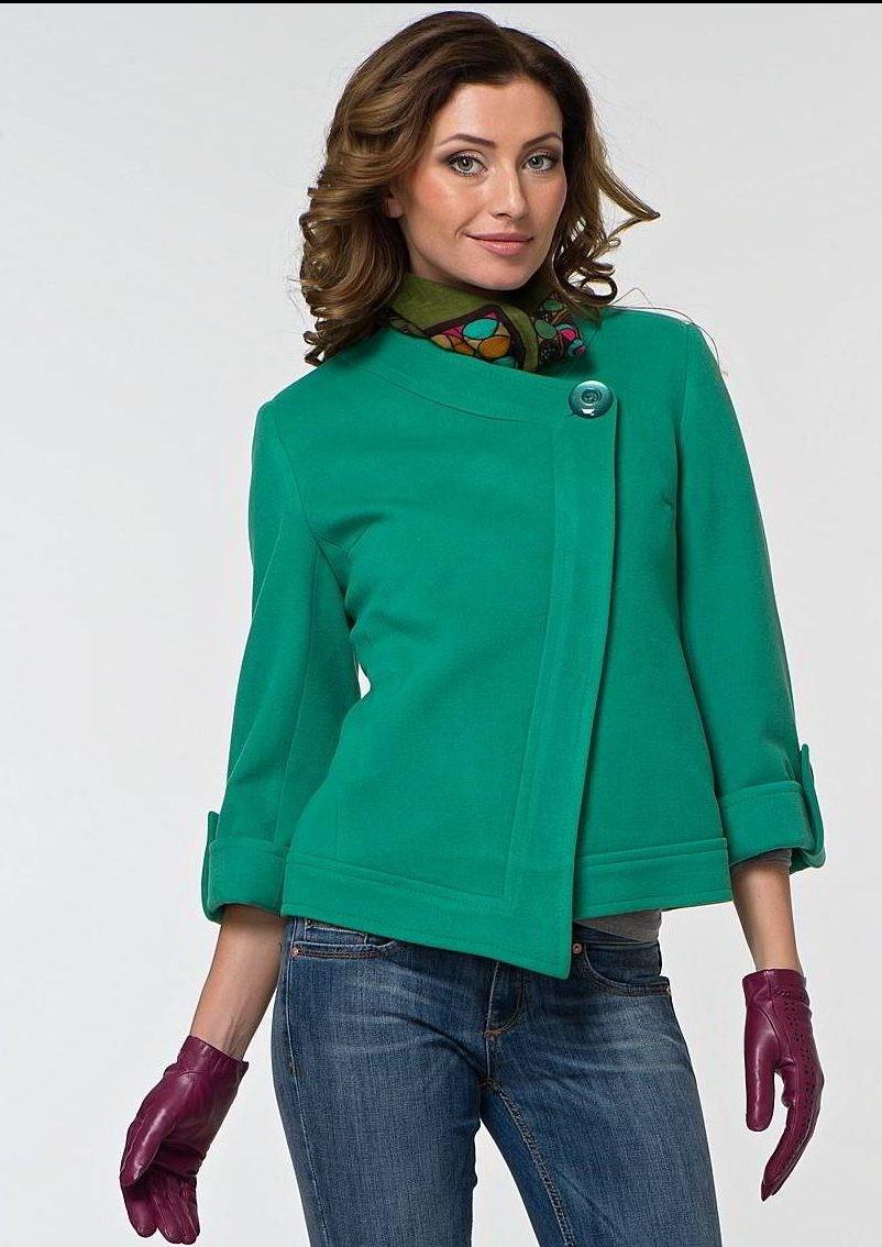 модное пальто осень зима 2018 2019 укороченное зеленое рукав короткий