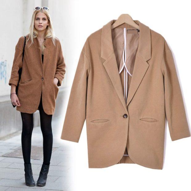 модное пальто осень-зима 2019-2020 оверсайз бежевое короткое