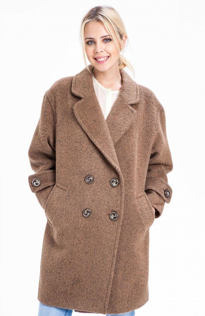 модное пальто осень зима 2018 2019 оверсайз двубортное коричневое