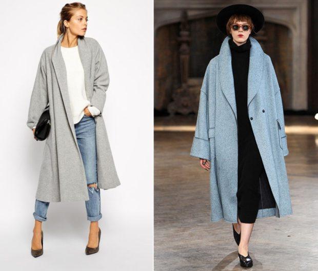 модное пальто осень-зима 2019-2020 оверсайз удлиненное серое голубое