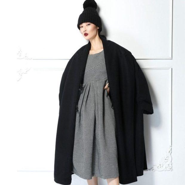 модное пальто осень-зима 2019-2020 оверсайз черное