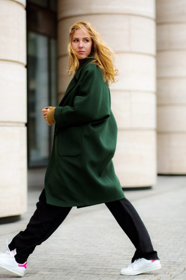 модное пальто осень-зима 2019-2020 оверсайз зеленое