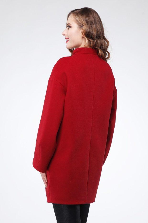 модное пальто осень-зима 2019-2020 оверсайз красное