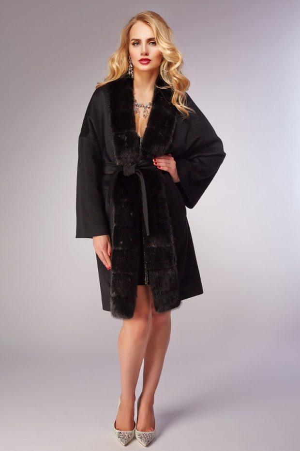 женское пальто осень-зима с мехом черное под пояс