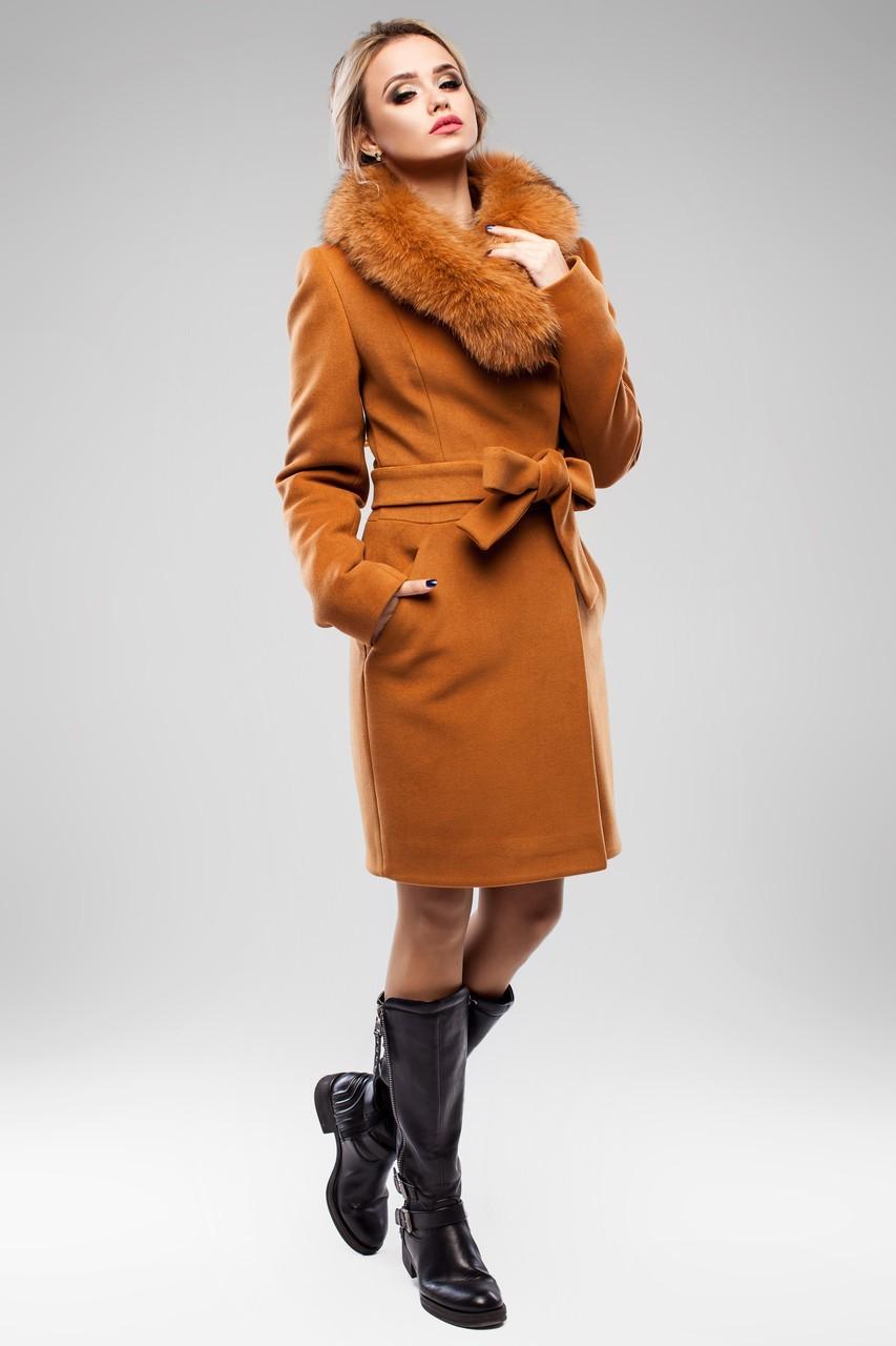 модное пальто осень зима 2018 2019 с мехом коричневое с поясом