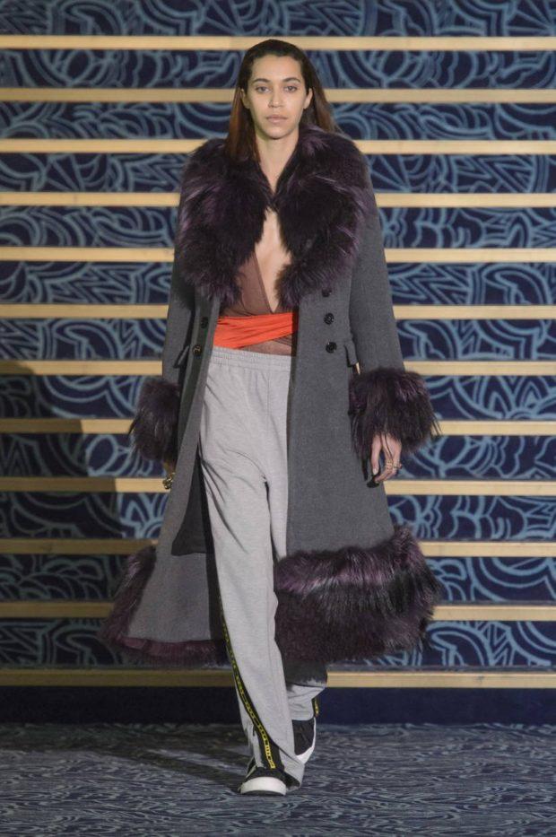 пальто осень-зима: с мехом удлиненное серое