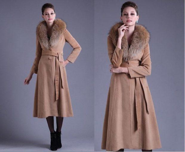 пальто осень-зима: с мехом удлиненное коричневое