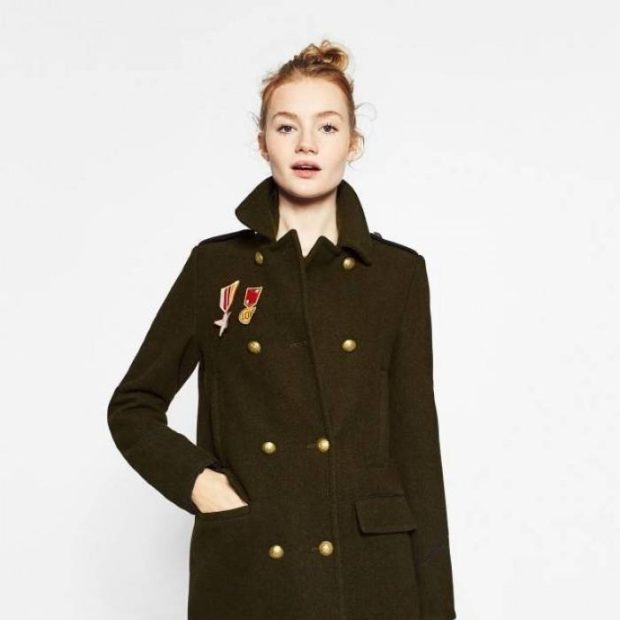 пальто осень-зима: милитари темное