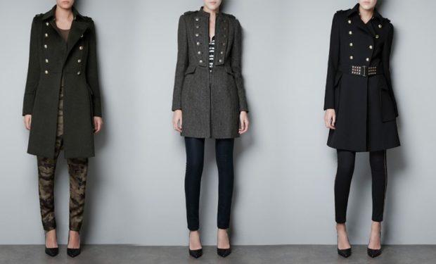 пальто осень-зима: милитари черное серое черное с поясом