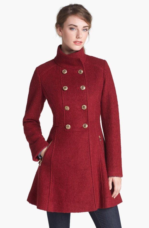пальто осень-зима: милитари красное приталенное