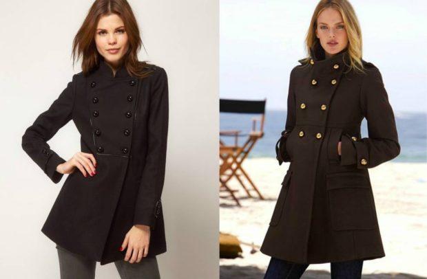 пальто осень-зима: милитари черное приталенное